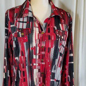 Erin London Large Black & Red Sparkle Ladies Shirt